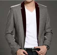 2015 New Fashion Mens Casual Slim fit One Button Wool Suit Blazer Coat Jackets