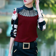 New Fashion Rhinestone Collar Floral Long Sleeve Blouse Sexy Bodysuit Top Shirt