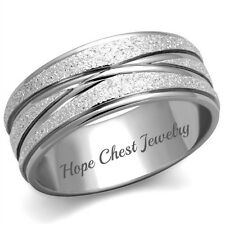 WOMEN'S SILVER TONE STAINLESS STEEL 8MM BRIDAL WEDDING BAND RING SIZE 5 - 10