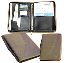 Leather A4 Papers Holder Bags Folder Zipper Diary File Business Hand Card Travel