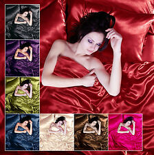 Satin 4/6 pc Single Double King Bed Duvet Quilt Pillow Cover Fitted Sheet Set