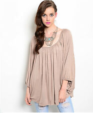 EDG SOLID MOCHA BROWN CASUAL RAYON SPANDEX DRAPE BATWING TOP BLOUSE S M L NEW