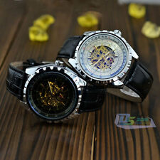 Fashion Steampunk Leather Band Automatic Skeleton Mechanical Men's Wrist Watch