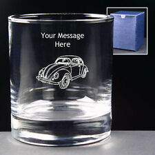 PERSONALISED CLASSIC VW BEETLE GLASS ENGRAVED Choice of 8oz 10oz Hi-ball NEW