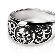 Mens Biker Ring. Classic band rugged stainless steel skulls and grass Size 9-14
