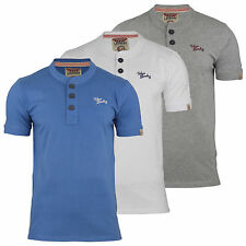 Mens T Shirt Tokyo Laundry Cash Cotton Grandad Collar Short Sleeved Casual Top