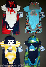 GERBER 3-Piece Set - Onesie, Shorts and Cap Baby Shower Gift Baby Clothes - NWT