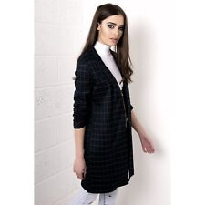 Ladies Womens Long Line Check Blazer Duster Coat Jacket in Navy and Green 8-14