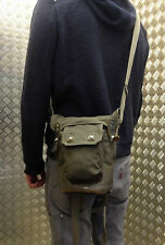 Genuine Swedish Army Vintage / Retro M39 Gas Mask Bag with Leather Base from WW2