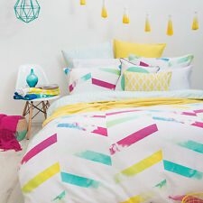 Bambury Mirielle Chevron Cotton Quilt Doona Cover Set - SINGLE DOUBLE QUEEN KING