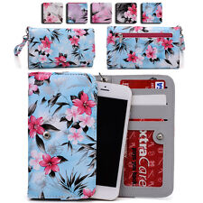 Womens Flower Pattern Wallet Case Cover for Smart Cell Phones by KroO ESMLF-8
