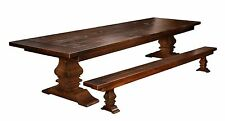 Plank Farmhouse Trestle Dining Table Set Bench Rustic Extending Solid Wood 2""