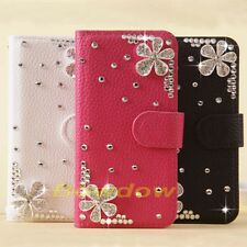 New Deluxe Handmade 3D Bling flower Litchi Skin flip case cover for Sony phone