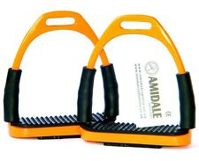 FLEXI SAFETY STIRRUPS HORSE RIDING BENDY IRONS ORANGE COLOR FROM AMIDALE BNWT