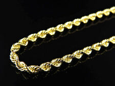 Solid 10K Yellow Gold Mens Ladies 3 MM Rope Chain Necklace 18-30 Inches