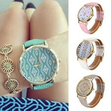 Hot Girls Ladys vintage Leather Geometric Wave Geneva Watch Dress Quartz Watches
