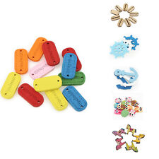 100PCS Cute Kid Wood Handmade Word Mixed Color Craft Decoration Button 25mm