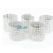 Silver Rhinestone Bling Napkin Rings 8 Row Wedding Birthday Anniversary Any QTY