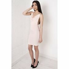 Miss Foxy Celeb Nude Draped Cross Strapped Open Back Fitted Bodycon Dress 8-14