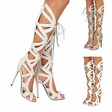 Womens Stiletto Heel Lace Up Cut Out Knee High Gladiator Zip Sandals Boots Size