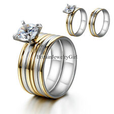 New Women's Stainless Steel Clear Round CZ Prong Set  Wedding Engagement Ring