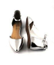 Silver Fresh Urban Pointed Toe D'Orsay Dress Flats Closed  Back Tall Heel Cup