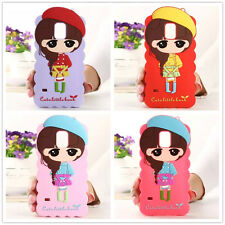 Cute 3D pretty girl Soft Silicone Rubber Case cover For Various Samsung iphone