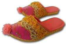 GIRLS TURKISH SLIPPERS POM POM ALADDIN HAREM STYLE PINK DECORATIVE FANCY DRESS