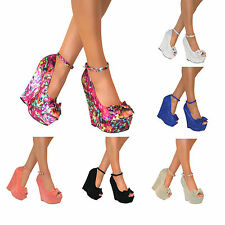 Ladies High Heel Platform Womens Peep Toe Bow Ankle Strap Wedge Shoes Size