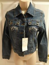 HIP JEANS Jacket Blue Juniors Size 5 9 11 Ramie Blend $75 NWT Stretch Denim