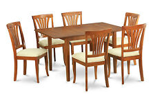 7 Piece dinette set for small spaces - Table with Leaf and 6 Dining Chairs