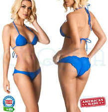 ladies coqueta SWIMSUIT ALLURE BRAZILIAN bikini scrunch ruffles SET ROYAL BLUE