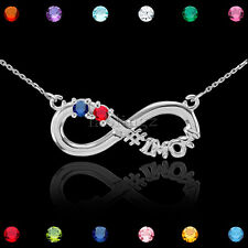 """20"""" Sterling Silver Infinity #1 MOM Double CZ Birthstone Necklace"""