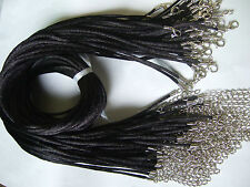"20/50pcs Black 2mm Satin Silk Cord Necklace with Lobster Clasp 13"" - 30"" Choose"