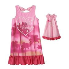 """Girl 4-7 and 18"""" doll matching nightgown pajamas ft Dollie Me & American Doll"""