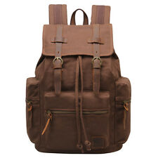 Vintage Canvas Leather Backpack Mens Military Hiking Travel Rucksack School Bag