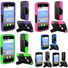 Hybrid Armor T-Stand Protective Cover Phone Case For LG Sunrise L15G Lucky L16C