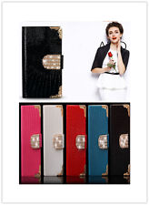 Luxury Diamond Magnetic Bling Shiny Crystal PU Leather Flip Wallet Case