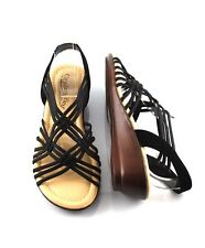 Black Wide Width Comfy Low Wedges Strappy Slide Elastic Awesome Sandals