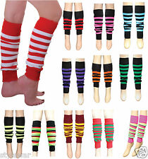 NEW LADIES 80'S DANCE STRIPES LEG WARMER STRIPE LEG WARMERS TUTU FANCY DRESS