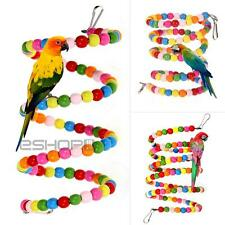 Pet Wood Spiral Ladder Chew Toy Colorful Beads for Parrot Bird Macaw Hamster