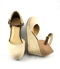 Nude Tan Cutie Closed Toe Low Wedge Espadrilles Ankle Strap Closed Back