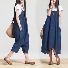 Women Loose Wide Leg Low Drop Crotch Harem Jeans Jumpsuits Denim Overalls Pants