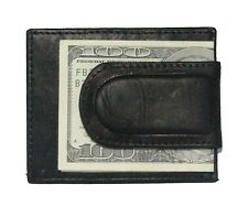 Paul & Taylor Genuine Leather Money Clip Front Pocket Wallet in black or brown