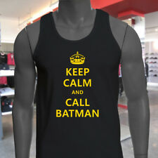 Chive Funny Keep Calm and call Batman Mens Black Tank Top