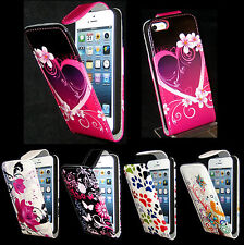 Pink Butterfly, Hearts, Paw Flip PU Leather Case For Apple iPhone 5, 5S