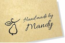Pear Stamp - Personalised Clear Rubber  Craft Stamp 40mm x 20mm