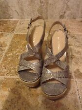 Via Spiga Wendy Womens Beige Leather Wedge Sandals Shoes New