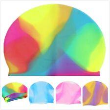 Unisex Colorful Silicone Swim Cap Waterproof Elasticity Swimming Bathing Hat LJ