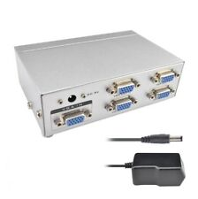 1x2 1x4 2 / 4 Port VGA SVGA HD15 Video Splitter Box 250MHz PC to TV LCD Monitor